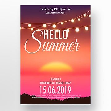 Pink Sunset Tropical Plants Summer Poster Template
