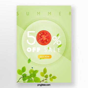 promotion template for green leaf colour of tomato with green bottom in summer Template