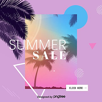Simple Geometry Promotion Poster for Summer Discount Season Template