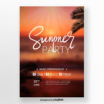 Simple posters for summer party activities Template