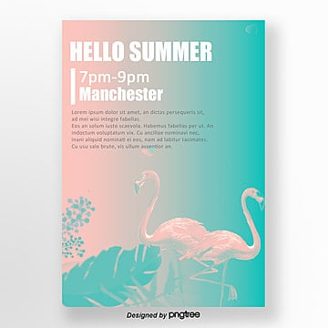 summer fantasy flamingo theme music party poster Template