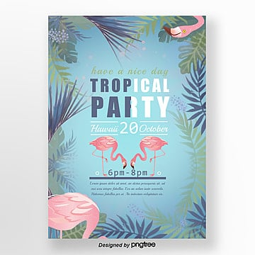 Summer Flamingo Theme Party Poster Template