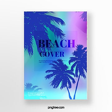 Holographic color summer plant projection posters Template