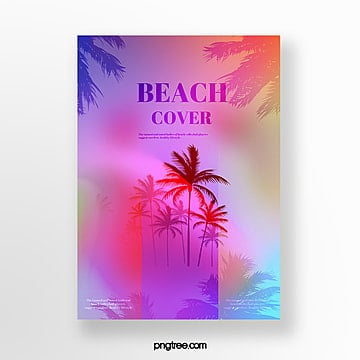 holographic gradient plant projection poster Template