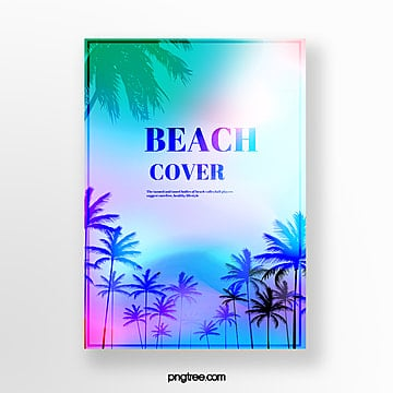 Holographic Gradual Summer Plant Projection Poster Template