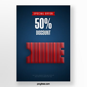 blue coupon barcode promotional creative poster Template