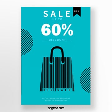 blue gift bag bar code creative activity poster Template