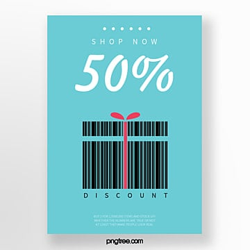 blue gift box barcode creative discount poster Template