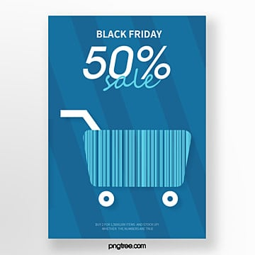 blue shopping cart barcode hot selling promotional creative poster Template