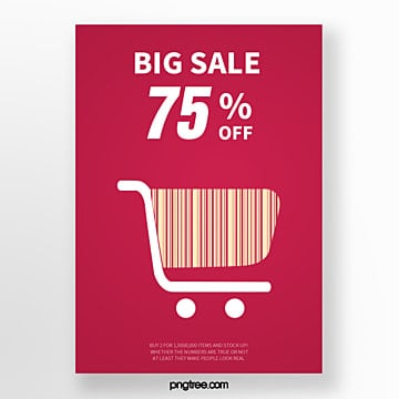 creative discount posters for red shopping cart bar code labels Template