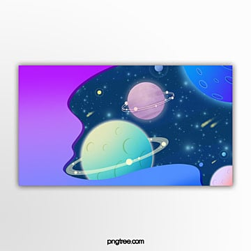purple gradual planet banner in outer space Template