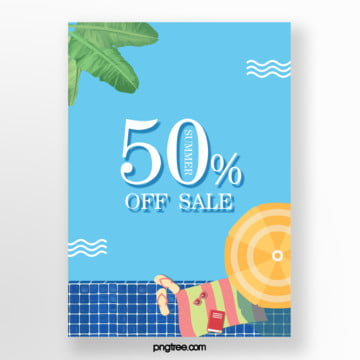 green plants summer promotion poster with blue background Template