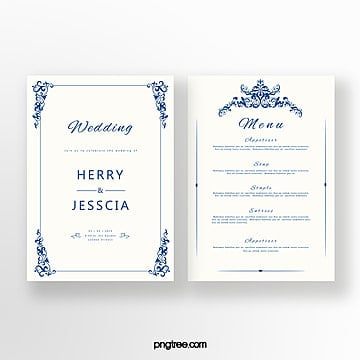 cobalt blue european wedding invitation Template