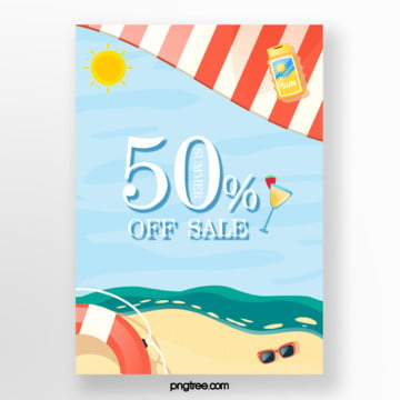 fresh blue seascape summer promotion poster Template