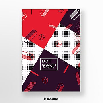 red fashion geometry point perspective poster Template