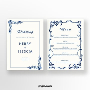 simple cobalt blue european pattern invitation Template