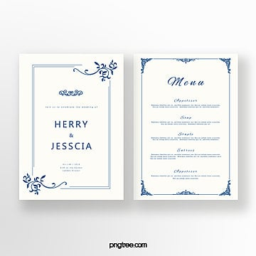 simple cobalt blue invitation with european border Template