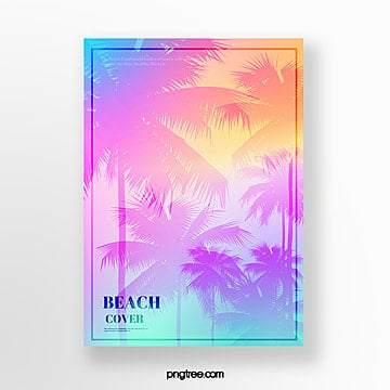 summer holographic gradual plants projection poster Template