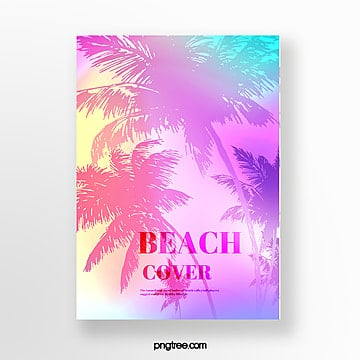 summer holographic tropical plants poster Template