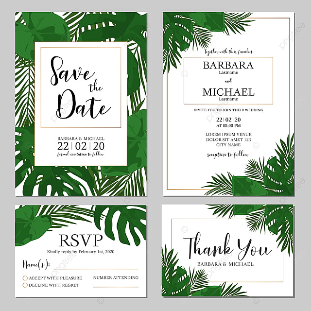 Wedding Invitation Template With Tropical Leaf For Free