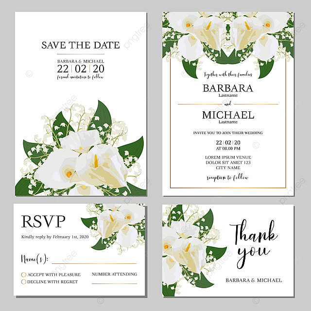 Wedding Invitation Template With White Calla Lily Flower