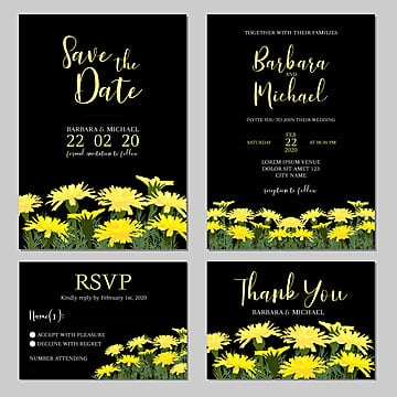 wedding invitation template with summer floral decoration Template