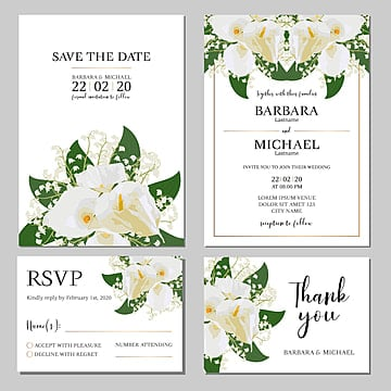 wedding invitation template with white calla lily flower wedding menu Template