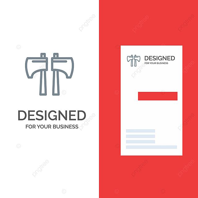 Axt Hopp Holzfäller Tool Grey Logo Design Und Visitenkarte T
