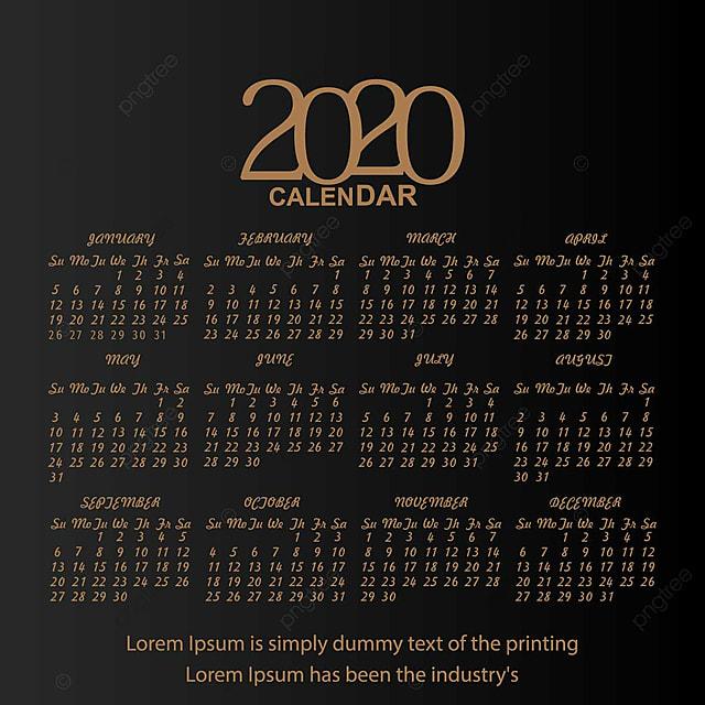 Calendrier 2020 Vectoriel Gratuit.Agenda 2020 Noir Modele De Telechargement Gratuit Sur Pngtree