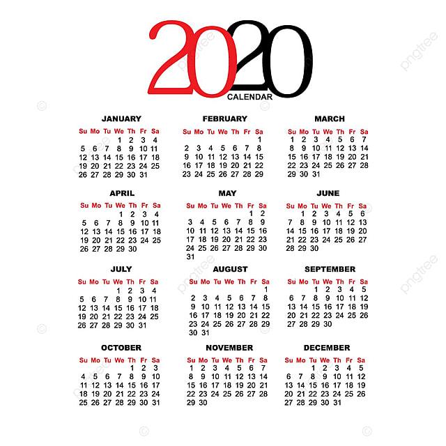 calendario 2020 modello per il download gratuito su pngtree