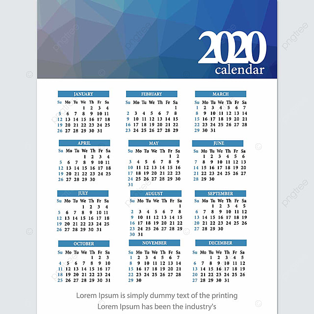 Calendar 2020 Vector Design Template For Free Download On