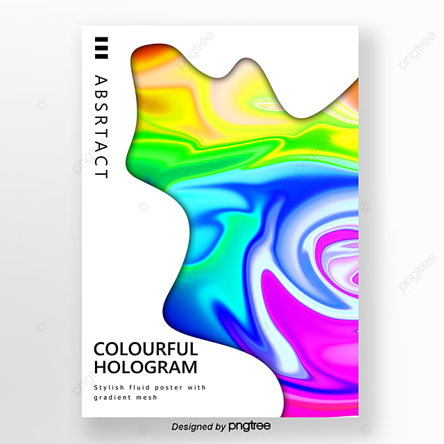 Fashion Rainbow Holographic Gradient Color Poster Template