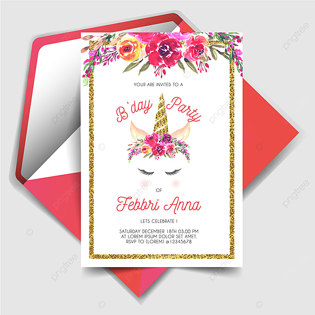 Magically Unicorn Birthday Party Invitation Card Template