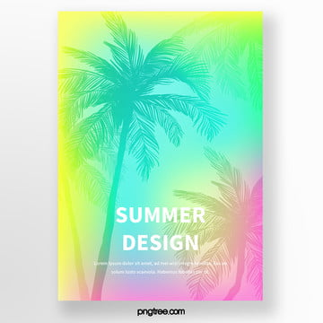 backlight simple palm tree silhouette tropical plants poster Template