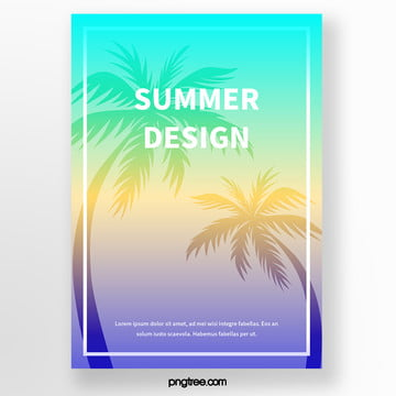 beach summer beach palm tree silhouette tropical plant poster Template