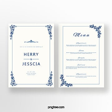 cobalt blue european pattern invitation letter Template