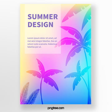 color gradient holographic palm tree silhouette tropical plants poster Template