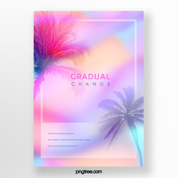 color gradient palm frame projection poster Template