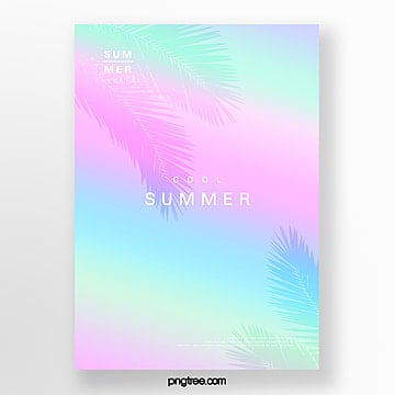 color gradual holographic plants projection poster Template