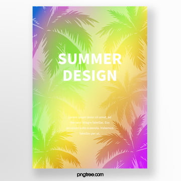 colorful gradient palm silhouette tropical plants poster Template