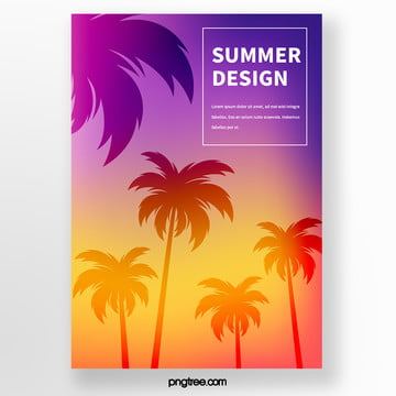 colorful palm tree silhouette tropical plant poster in dusk and summer Template