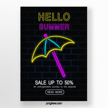Dark blue umbrella Neon Poster Template