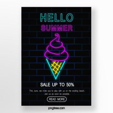dark neon summer promotional posters Template