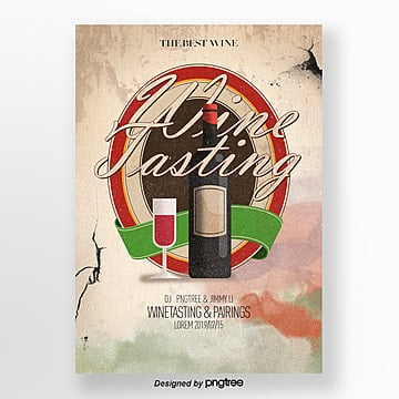 design of vintage style wine tasting flyers Template