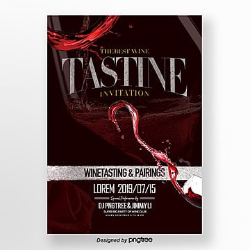 fashion and simple flyer design for red wine tasting activities Template