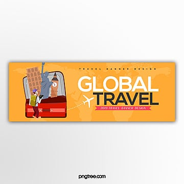 fashionable simple cartoon global travel theme banner Template