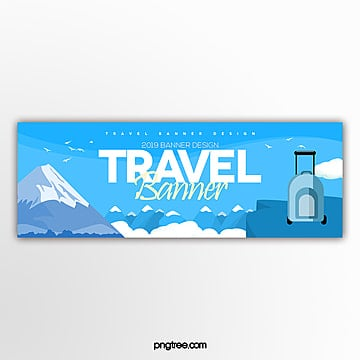 fresh and fashionable simple cartoon travel website banner Template