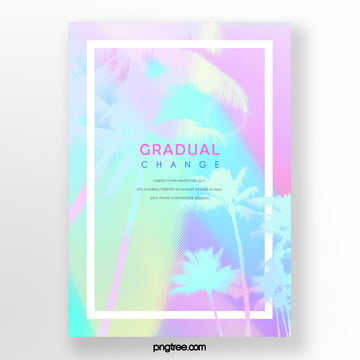 fresh color gradient palm projection poster Template