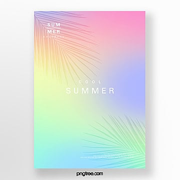 fresh color holographic plant projection poster Template