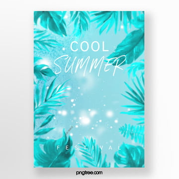 fresh summer palm leaf ice cream poster Template